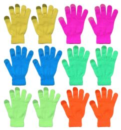 144 Bulk Yacht & Smith Unisex Neon Winter Texting Gloves, Warm Thermal Winter Gloves Bulk Buy