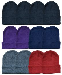 96 Bulk Yacht & Smith Unisex Warm Acrylic Knit Winter Beanie Hats In Assorted Colors