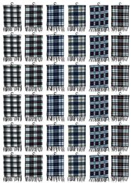 60 Bulk Yacht & Smith Unisex Warm Winter Plaid Fleece Scarfs Assorted Colors Size 60x12