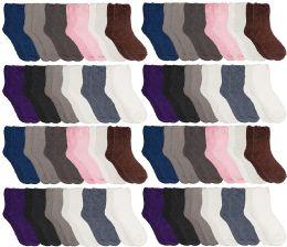 48 Bulk Yacht & Smith Women Fuzzy Socks Crew Socks, Warm Butter Soft, Neutral Colors (Size 9-11)