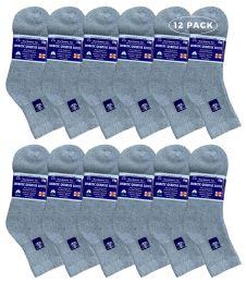 6 Bulk Yacht & Smith Women's Diabetic Cotton Ankle Socks Soft NoN-Binding Comfort Socks Size 9-11 Gray