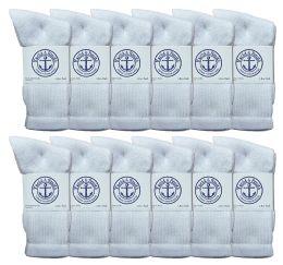 240 Bulk Yacht & Smith Women's Cotton Crew Socks White Size 9-11 Bulk Buy
