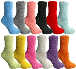 144 Bulk Women's Solid Colored Fuzzy Socks Assorted Colors, Size 9-11