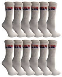 240 Bulk Yacht & Smith Women's Usa American Flag Crew Socks, Size 9-11 White Bulk Buy