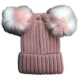 Bulk Yacht & Smith Womens 3 Inch Double Pom Pom Ribbed Beanie Hat, Pink