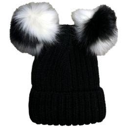 Bulk Yacht & Smith Womens 3 Inch Double Pom Pom Ribbed Beanie Hat, Black