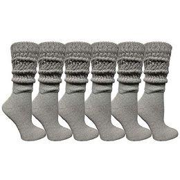 6 Bulk Yacht & Smith Womens Cotton Extra Heavy Slouch Socks, Boot Sock Solid Heather Gray