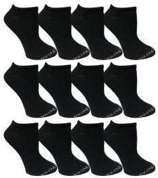 480 Bulk Yacht & Smith Womens 97% Cotton Low Cut No Show Loafer Socks Size 9-11 Solid Black Bulk Buy