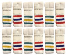 24 Bulk Yacht & Smith Women's Cotton Striped Tube Socks, Referee Style Size 9-15 22 Inch