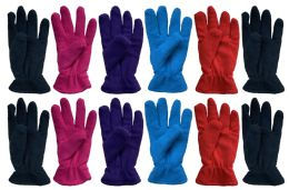 144 Bulk Yacht & Smith Womens Double Layer Fleece Gloves Packed Assorted Colors