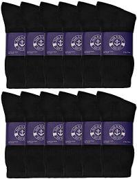 12 Bulk Yacht & Smith Womens Lightweight Cotton Crew Socks In Bulk, Black Size 9-11