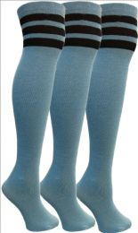 3 Bulk Yacht&smith Womens Over The Knee Socks, 3 Pairs Soft, Cotton Colorful Patterned (3 Pairs Copper Blue)