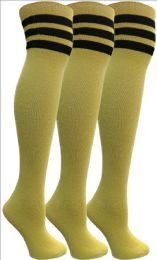 3 Bulk Yacht&smith Womens Over The Knee Socks, 3 Pairs Soft, Cotton Colorful Patterned (3 Pairs Yellow)