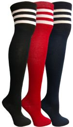 3 Bulk Yacht&smith Womens Over The Knee Socks, 3 Pairs Soft, Chic Colorful Patterned (3 Pairs Retro Striped (red, Navy, Black))