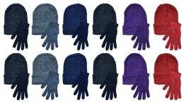 24 Bulk Yacht & Smith Womens Warm Winter Hats And Glove Set 24 Pieces