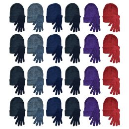 96 Bulk Yacht & Smith Womens Warm Winter Hats And Glove Set Assorted Colors 96 Pieces