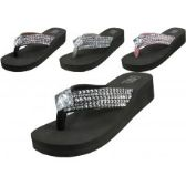 85c971b6cf10e1 Wholesale Women s Wedge Rhinestone Thong Sandals (  Asst Black Silver Brown    Pink )