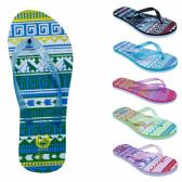 8ae2584b1030eb Wholesale Women s Flip Flops with  Dual Layer Heel   Sparkle Straps -  Tribal Print